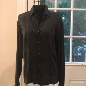 Vintage 90s silk black button up simple style